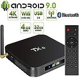 Android 9.0 TV Box,Pendoo TX6 Android TV Box 4GB DDR3 32GB EMMC Dual WiFi 2.4G+5G Bluetooth Quad Core 3D 4K Ultra HD H.265 USB3.0 Android TV Box
