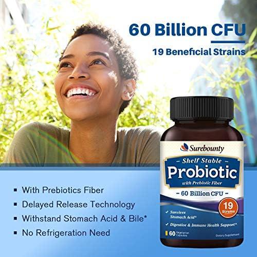 Surebounty Probiotic with Prebiotic, Delayed Release Technology, Shelf Stable, 60 Billion CFU 19 Strains, for Digestive & Immune Health, 60 Vegetarian Capsules, Non-GMO, Gluten Dairy & Soy Free 4