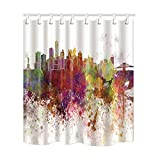 NYMB Home Decor Watercolor New York City Skyline Shower Curtain 69X70 inches Polyester Fabric Bath Fantastic Decorations Bath Curtain Hooks Included