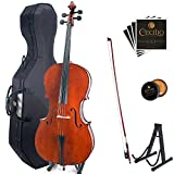 Cecilio CCO-200 Solid Wood Cello with Hard & Soft Case, Stand, Bow, Rosin, Bridge and Extra Set of Strings, Size 4/4 (Full Size)