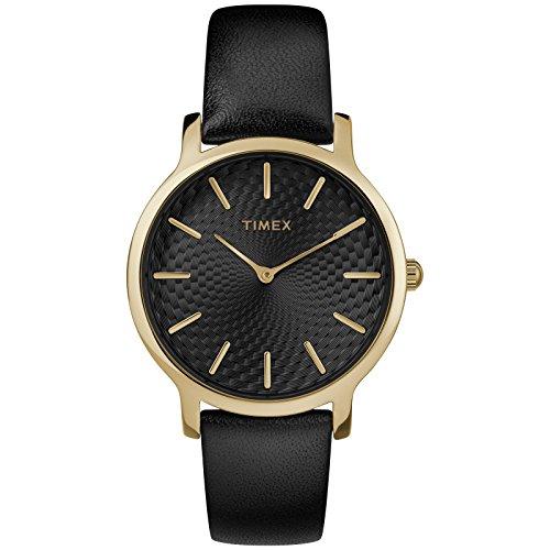 Timex Women's TW2R36400 Metropolitan 34mm Black/Gold-Tone Leather Strap Watch