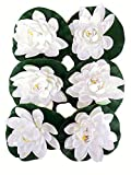 Floral Kingdom 8' Inch Floating Lotus Lily pad Foam Flower for Ponds, Weddings, Pool, and Garden Decor (Set of 6) (White)
