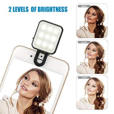 CHSMONB-Mini-LED-Selfie-Light-Rechargeable-2-Adjustable-Brightness-Camera-Fill-Light-Compatible-for-Any-Cell-Phones-Tablet-Photography-Video-Black