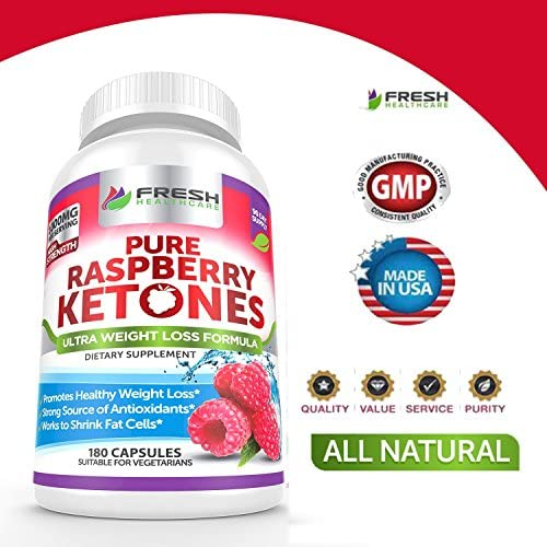 Pure 100% Raspberry Ketones Max 1000mg Per Serving - 3 Month Supply - Powerful Weight Loss Supplement - Provides Energy Boost for Weight Loss - 180 Capsules by Fresh Healthcare 4