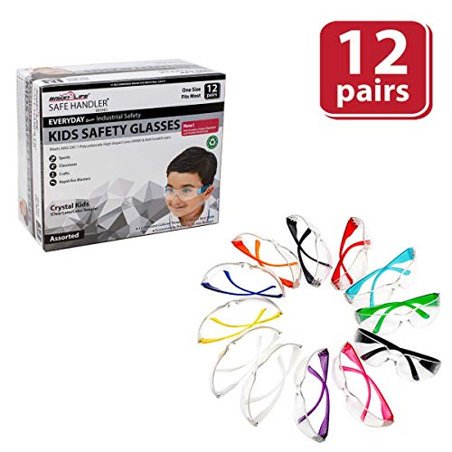 SAFE HANDLER Kids Protective Safety Glasses | Impact and Ballistic Resistant Lens, Clear Polycarbonate Lens Color Temple, Child Youth Size (Box of 12 Colors - Variety Pack)