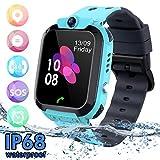 Kids Waterproof Smart Watch Phone, SZBXD LBS/GPS Tracker Touchscreen Smartwatch Games SOS Alarm Clock Camera Smart Watch Christmas Birthday Gifts for School Boy Girls (Blue)