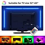 LE TV Backlight, 6.56ft LED Strip Lights for 32-65 inch TV, RGB Color Changing TV Ambient Light with Remote Controller, USB Powered Bias Lighting for Smart TV PC Monitor Home Theater Decoration