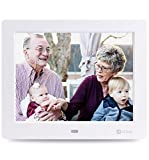 Advanced Digital Picture Photo Frame - 720P and Partial 1080P HD IPS Widescreen MP3 MP4 Video Player with Calendar/Clock/Remote Control White 8 inch