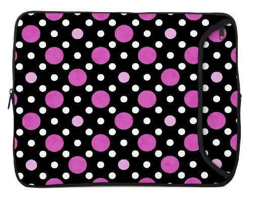 Designer Sleeves 13-Inch Polka Dots Laptop Sleeve, Black/Pink/White (13DS-PDBPW)