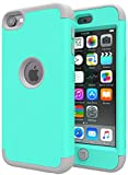iPod Touch 7 Case,iPod Touch 6 Case,SLMY(TM)Heavy Duty High Impact Armor Case Cover Protective Case for Apple iPod touch 5/6/7th Generation Green/Gray