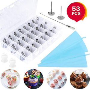 Cake Decorating Supplies 53 Pieces with 36 Cake Decoration Tips, 10 Disposable Icing Bags, 2 Silicone Pastry Bags, 2 Flower Nails, 2 Reusable Couplers, 1 Cleaning Brush 51gcQrwR5vL