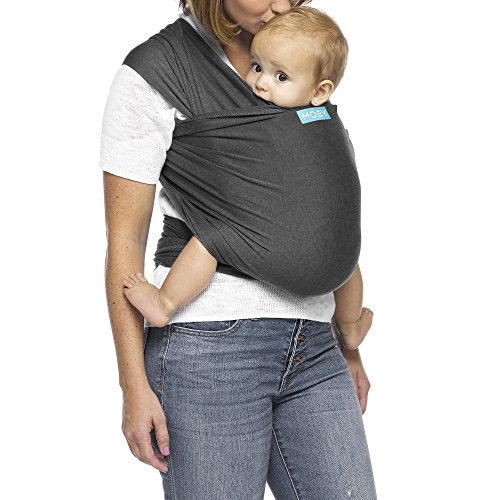 Moby Evolution Baby Wrap Carrier (Charcoal) - Toddler, Infant, and Newborn Wrap Carrier - Wrap Baby Carrier Ideal for Parents On The Go - Ergonomic Baby Wrap for Mom Or Dad - A Registry Must Have