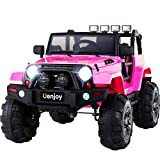 Uenjoy Ride on Car 12V Battery Power Children's Electric Cars Motorized Cars for Kids with Wheels Suspension,Remote Control, 4 Speeds, Head Lights,Music,Bluetooth Remote Controller,Pink