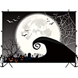Allenjoy Halloween Nightmare Themed Backdrop Horror Night Full Moon Pumpkin Jack Theme Baby Shower Birthday Party Wall Table Decor 7x5ft Spider Web Flying Bat Photography Backdground Photo Booth Props
