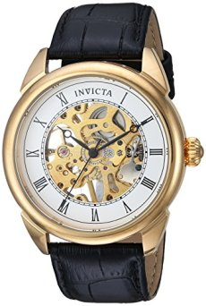 Invicta Men's Specialty Stainless Steel Mechanical-Hand-Wind Watch with Leather Calfskin Strap, Black, 21 (Model: 23535)