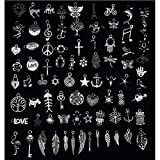 VIDRIO Mixed Wicca Charms Pendants Silver Craft Supplies for Jewelry Making Tibetan Accessories for Bracelets Necklace DIY(80pcs)