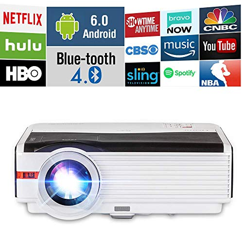 4200 Lumens HDMI Bluetooth WiFi LCD Projector Outdoor Backyard Movie Proyector n Support Wuxga 1080P, Android OS WirelessLED Projector for iPhone Airplay Apps Laptop Game Consoles DVD Home Theater