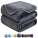 HOZY Soft Queen Size Blanket All Season Warm Fuzzy Microplush Lightweight Thermal Fleece Blankets for Couch Bed Sofa,90x90 Inches,Dark Gray