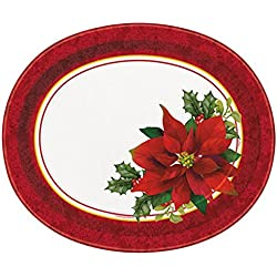Holly Poinsettia 8 Ct Oval Platters Christmas Holidays