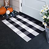 100% Cotton Buffalo Plaid Rugs, Buffalo Check Rug, 23.6''x35.4'', Checkered Outdoor Rug, Outdoor Plaid Doormat for Kitchen/Bathroom/Laundry Room/Bedroom (Black and White Porch Rugs)