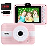 YUNKE Kids Camera, Child Camera, Digital Children Cameras with 8MP 1080P Screen 3.5 Inches Screen 32G Memory Card Strap Card Reader, Christmas New Year Birthday Festival Toy Gift for Children Age 3-12