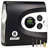 Kiasaki ONE Day Sale Digital Tire Inflator for Car W/Pressure Gauge - Portable Air Compressor - Electric Auto Pump | Easy to Store - Auto Shut Off - 12V DC - 3 Attachments - Bonus Carrying Case