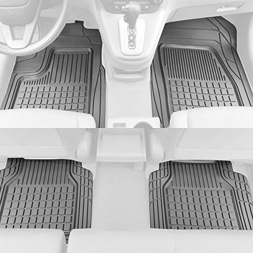BDK Solid Pro Rubber Car Floor Mats - Performance Plus Heavy Duty Liners for Auto SUV Truck Car Van - 4-Piece Set - Thick, Odorless & All Weather (Gray)