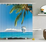 Ambesonne Nautical Decor Shower Curtain Set, Large Cruise Ship Heads to The Tropical Sandy Beach Exotic Panorama Coastal Theme, Bathroom Accessories, 84 Inches Extralong, Turquoise Green