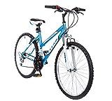 Titan Women's 18-Speed Pathfinder Front-Suspension Mountain Bike, Baby Blue, 17-Inch Frame, 26-Inch Alloy Wheels