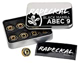 RADECKAL Black Mamba ABEC 9 Skateboard Bearings with Built in Spacers for Skateboards, Longboards, Cruisers, Pre-Lubricated, High Precision Rating, Long Lasting, 608 RS (1 Set of 8)...