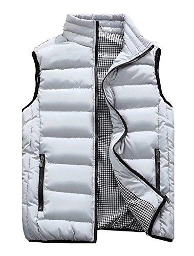 Msmsse Men's Warmer Puffer Vest Lightweight Packable Sleeveless Jacket Light Gray L