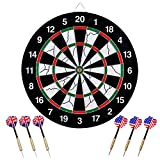 Wuudi Dart Board, Double-sided Flocking Dartboard with 6 Brass Darts(18 inches)