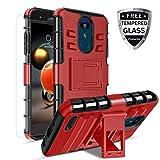 Donse LG Aristo 3 Phone Case/Aristo 2/Aristo 2 Plus/Tribute Empire/Tribute Dynasty/Rebel 4 LTE/Zone 4/Rebel 3 LTE/Risio 3/LG K8+/Phoenix 3/,Kickstand Heavy Duty TPU+PC Dual Layer Cover Shell PC(Red)