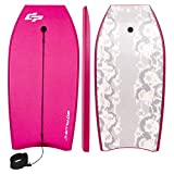 Goplus 41 inch Super Bodyboard Body Board EPS Core, IXPE Deck, HDPE Slick Bottom with Leash, Light Weight Perfect Surfing for Kids and Adults (Rose)