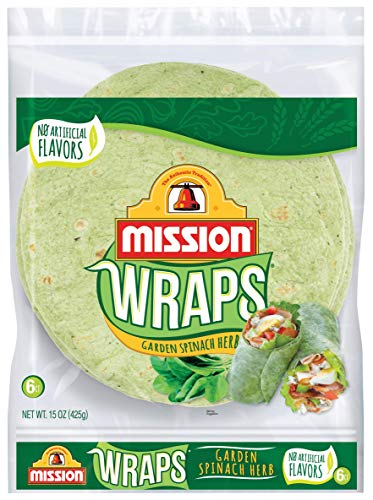 Mission Garden Spinach Herb Wraps, Soft Veggie Wraps, Trans Fat Free, 6 Count 1