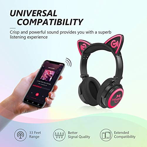 MindKoo-Bluetooth-Headphones-Wireless-Over-Ear-Cat-Ear-Headphones-with-LED-Light-Foldable-Built-in-Microphone-and-Volume-Control-for-Cell-PhonesiPhoneiPadLaptopPCTV-Kids-Boys-Girls-Friends