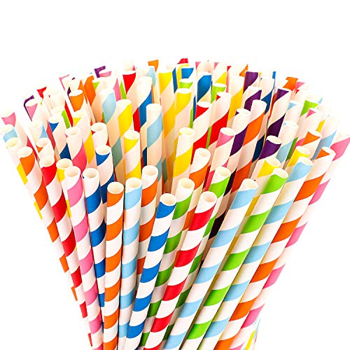 Plastic-Free Hiware 200-Pack Biodegradable Paper Straws - 8 Different Colors Rainbow Stripe Paper Drinking Straws - Bulk Paper Straws for Juices, Shakes, Smoothies, Party Supplies Decorations