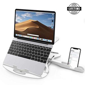 STRIFF Adjustable Laptop Stand Patented Riser Ventilated Portable Foldable Compatible with MacBook Notebook Tablet Tray Desk Table Book with Free Phone Stand(White)