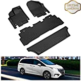 KIWI MASTER Floor Mats Liners Compatible for 2018 2019 2020 Honda Odyssey All Weather Protector Mat Front & Rear 2 Row Seat TPE Slush Liner Black