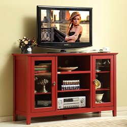 Mixcept 52″ Modern Stylish Sideboard Buffet Table Cabinet Tall Console Table Storage Cabinet Dining Server, Wooden, Red