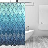 ZOEO Shower Curtain Backdrop Ocean Blue Teal Mermaid Fish Scales Geometric Rhombus Bathroom Home Decor Set Fabric Bridal Polyester Washable Waterproof 12 Hooks for Women 72x72 inch