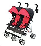 Kolcraft Cloud Double Umbrella Stroller – Lightweight and Compact, Easy Fold, Reclining Seats with Padded 3-Point Safety Harness and Roll-Up Seat Backs, Parent Cup Holder, Expandable Canopies, Red