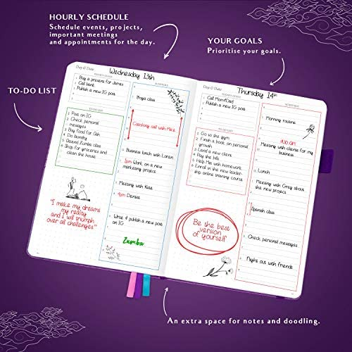 Legend Planner Daily for 3 Months - Undated Deluxe Monthly Weekly & Daily Planner to Hit Your Goals & Live Happier. Organizer Notebook & Productivity Journal. A5 Hardcover + Stickers - Dark Purple 5