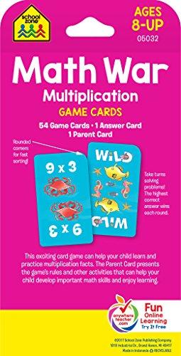 Multiplication War Game Cards, Ages 8-Up, math games, multiplication ...