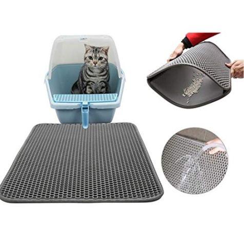 CLORIS-Large-EVA-Cat-Litter-Mat-28-in-Litter-Trapping-Mat-Litter-Locker-cat-mat-Cat-Litter-Box-Mat-Scatter-ControlDual-Layer-Honeycomb-Design-Washable-Waterproof-cat-Litter-mat