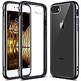 ULAK iPhone 7 Case Clear with Black Bumper, iPhone 8 Clear Case, Slim Fit Premium Hybrid Shockproof & Scratch Resistant Clear Case Cover Hard Back Panel+TPU Bumper - Black