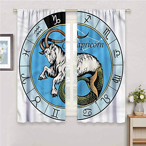 DRAGON VINES Curtains for Windows Ancient Icon Capricorn ,Thermal Insulated Drapery Drapes for Living Room W55 x L39