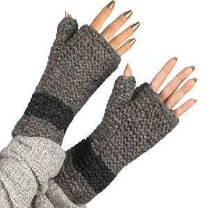 100% Wool Fingerless Gloves Arm Warmer Winter Warm Fleece inside Gloves Hand Knit Crochet Woman Cable Thumb Hole