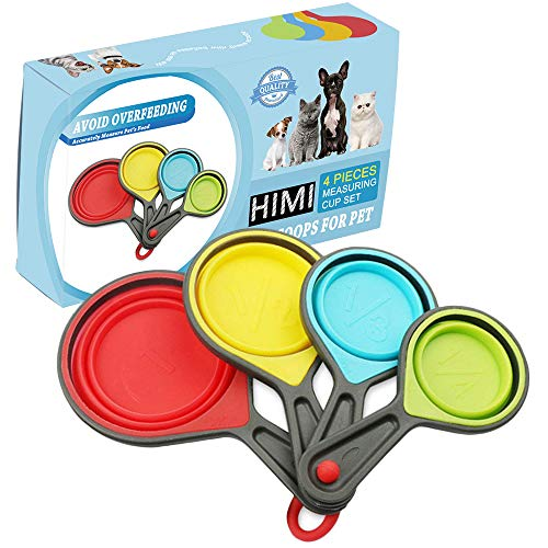 Himi Pet Food Scoops Silicone Collapsible Measuring Cups - Set of 4 - Great for Dog, Cat and Bird Food 1