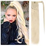 Wrap Around Human Hair Ponytail Extensions for Women Clip in Remy Human Hair Ponytail Hairpiece Long Straight Silky 18Inch #60 Platinum Blonde